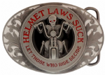 Helmet Laws Suck Belt Buckle with display stand. Code EJ4